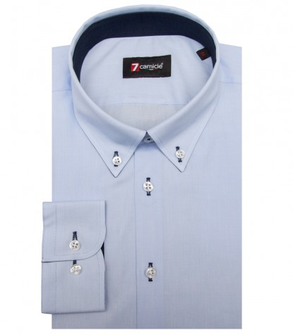 Shirt Leonardo Fil a fil Light Blue