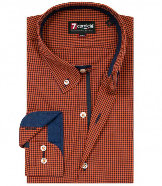 Shirt Leonardo Poplin orange and blue
