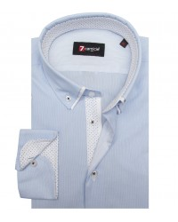 Shirt Bernini Cotton WhiteLite Blue