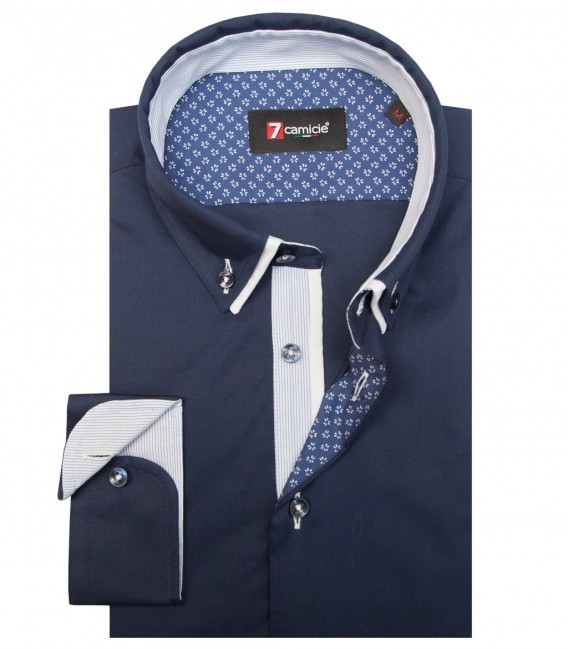 Shirt Bernini stretch poplin Blu
