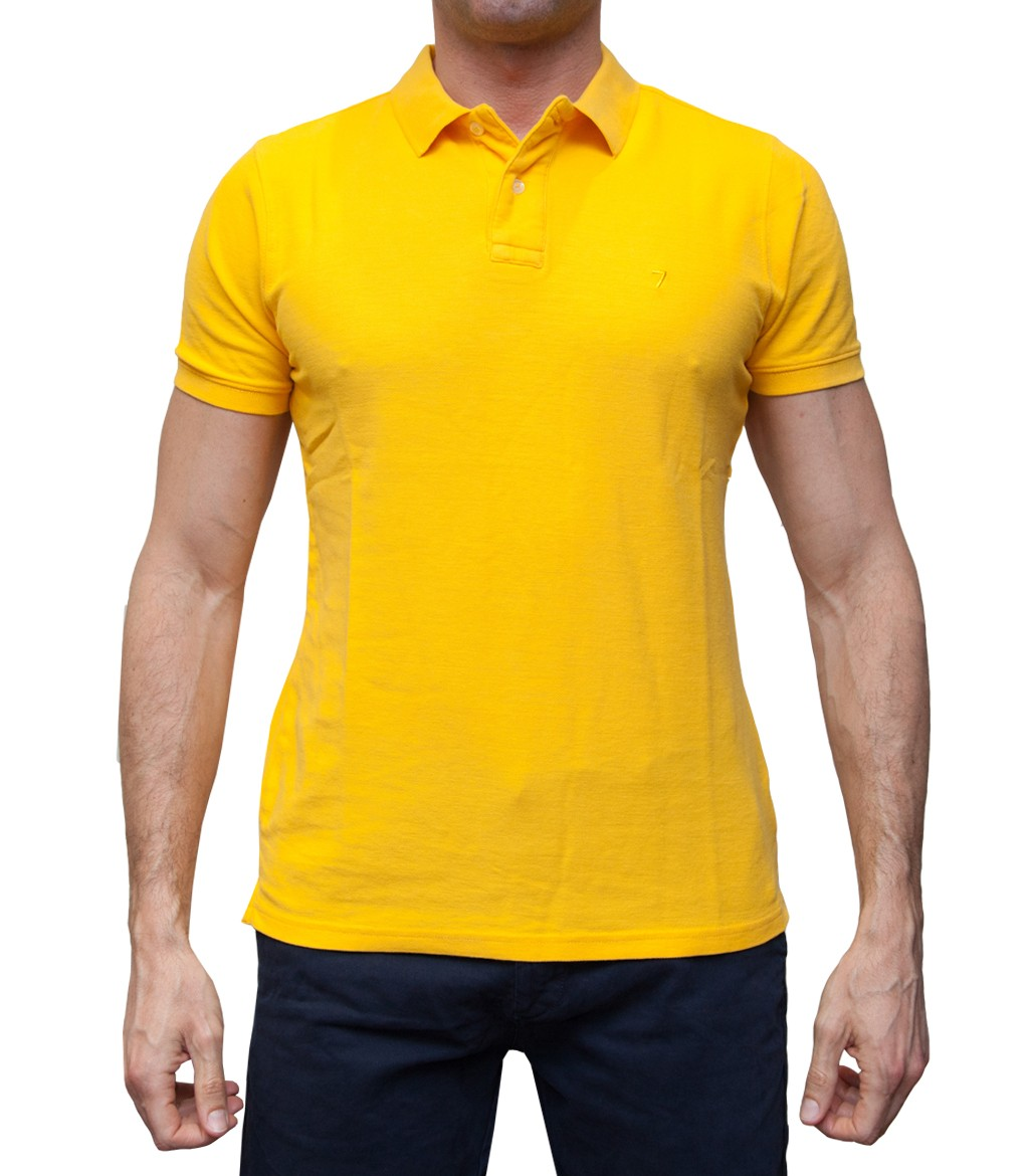 Polo Men Short Sleeve Polo Slim Piquet Full Color Yellow