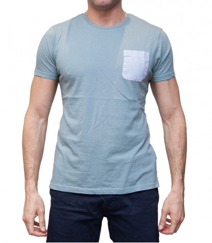 Man T-Shirt with Pocket Contrast Solid Cotton Melange Light Blue