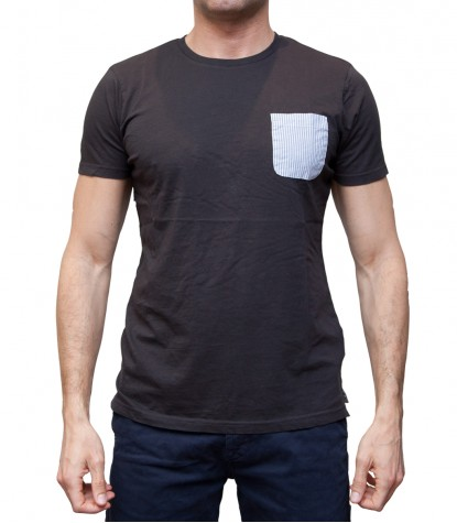 Man T-Shirt with Pocket Contrast Solid Cotton Black