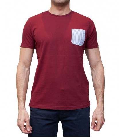 Man T-Shirt with Pocket Contrast Solid Cotton Red