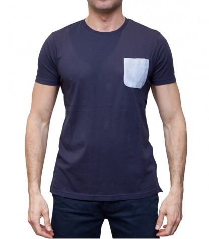Man T-Shirt with Pocket Contrast Solid Cotton Blu