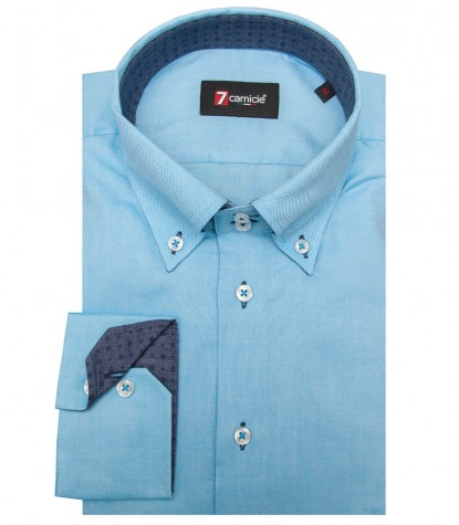 Shirt Roma Honeycomb fabric Turquoise