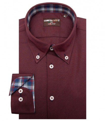 Shirt Leonardo Cotton Polyester Red Bordeaux