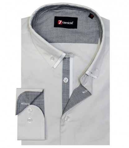 Shirt Leonardo stretch poplin Light Grey