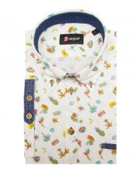 Shirt Leonardo Cotton WhiteBrown