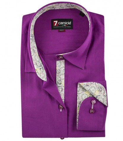 Italian collar shirt, patches, floral lining, slim fit