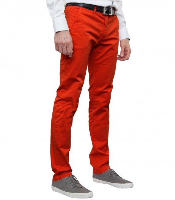 Ischia Orange Cotton Trousers