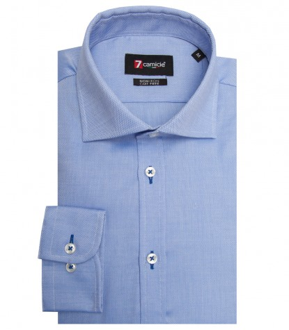Shirt Firenze Honeycomb fabric Ink Blue