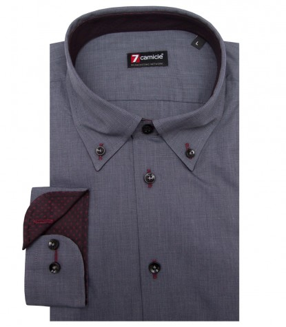 Shirt Leonardo Fil a fil Dark Grey