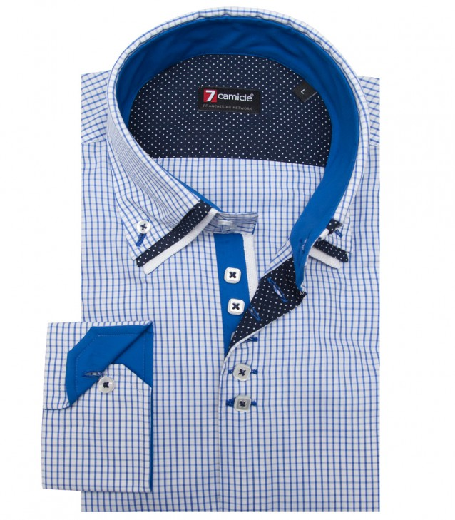 Shirt Vesuvio Cotton WhiteBlue