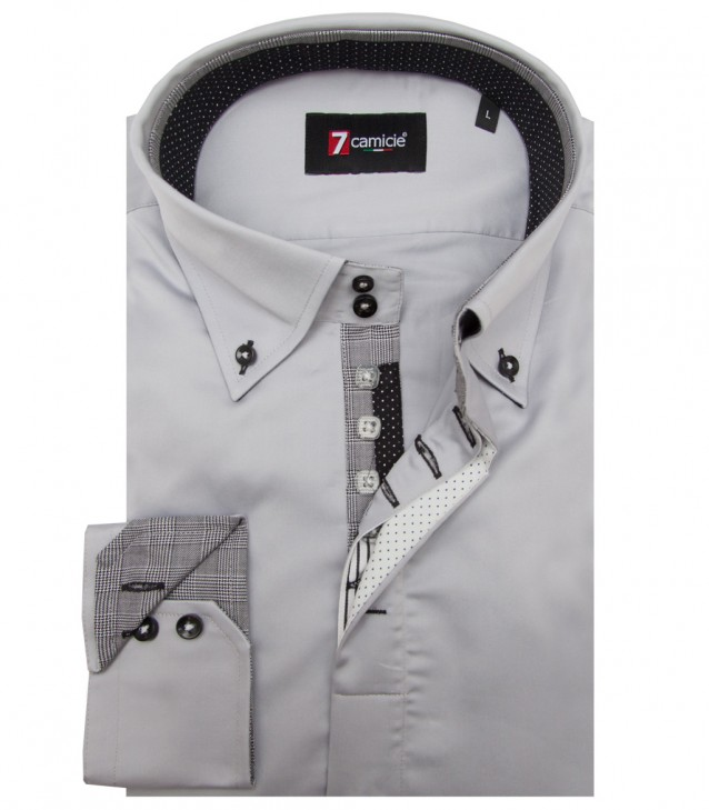 Shirt Roma Satin Light Grey