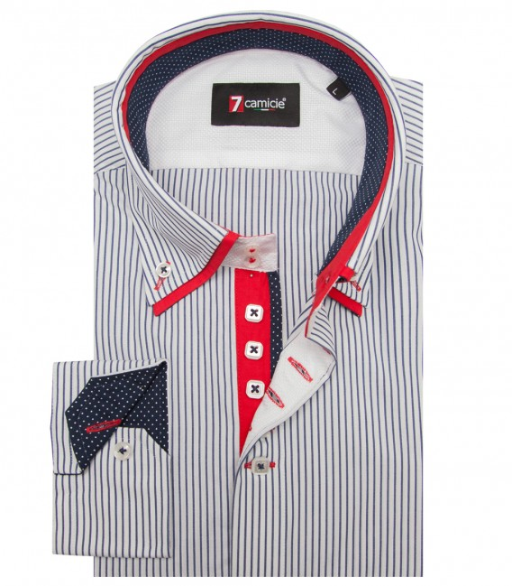 Shirt Marco Polo Satin WhiteBlue