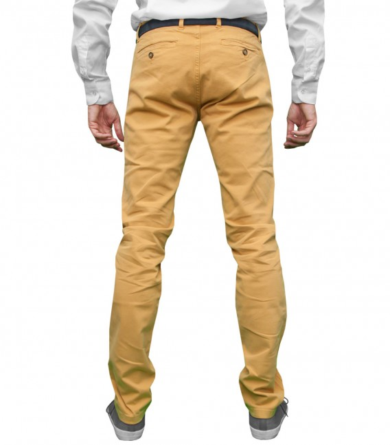 trousers Men twill full color Mustard 017eec7f4a9