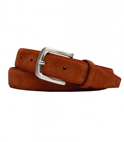 Brick Orange Suede Man Belt