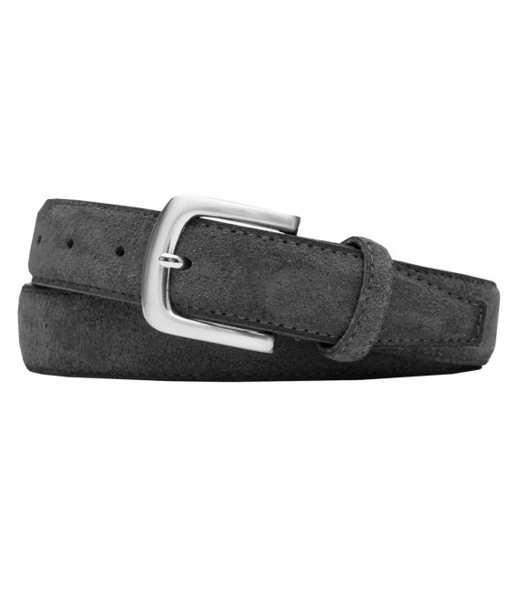 Dark Grey Suede Man Belt