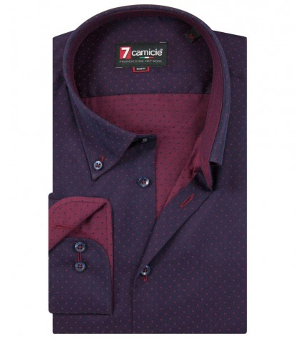 Shirt Leonardo Satin BlueBordeaux