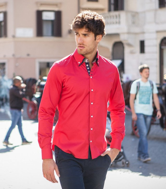 Chemises Marco Polo Satin rouge