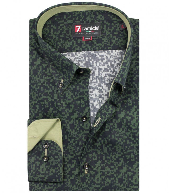 Shirt Leonardo Poplin Military Green Black
