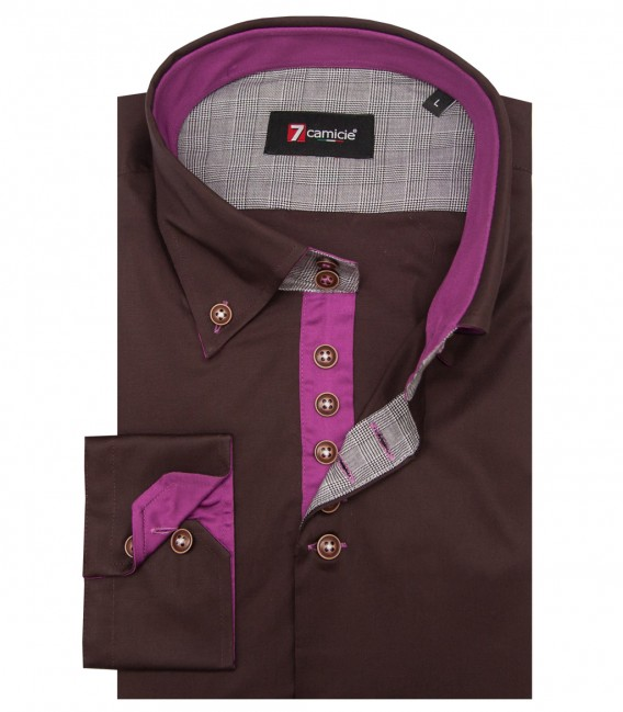 Shirt Roma stretch poplin Brown
