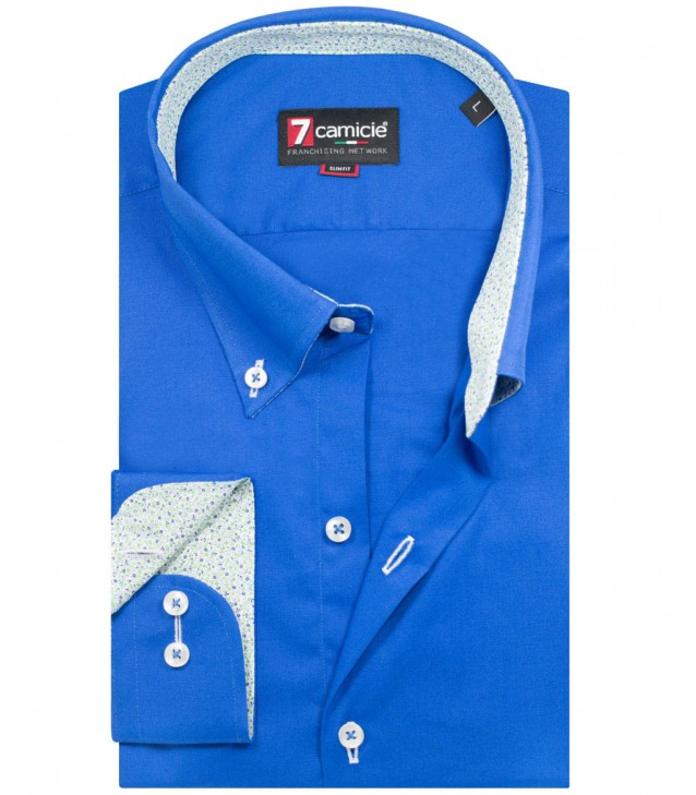 Shirt Leonardo stretch poplin Bluette