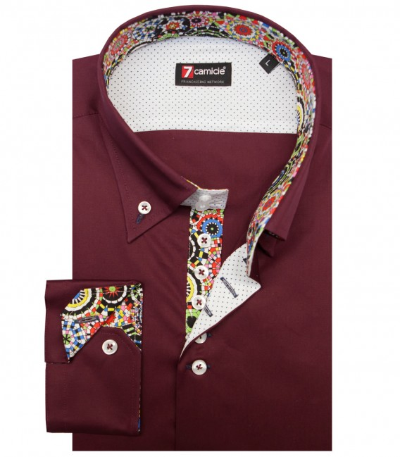 Camicia Roma Popeline stretch Bordeaux