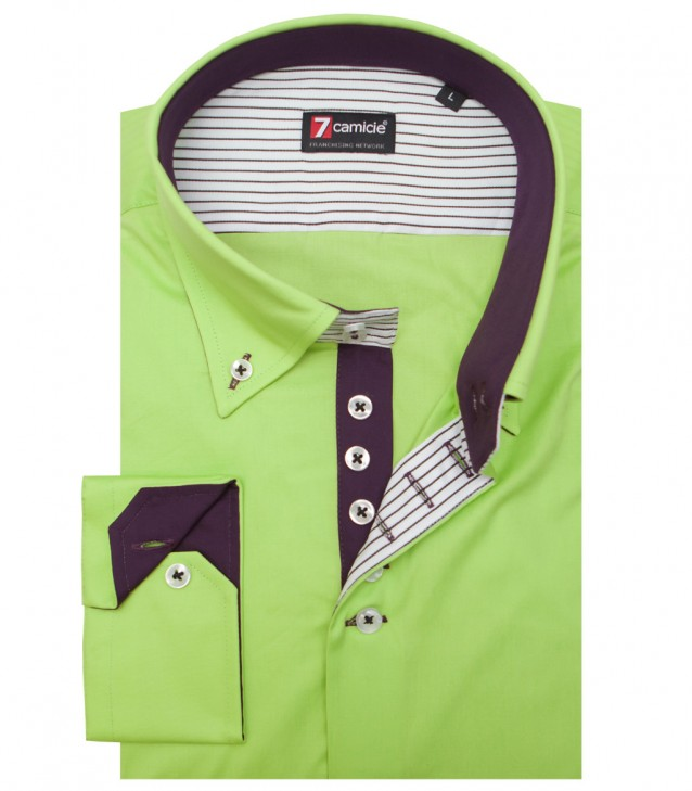 Shirt Roma stretch poplin Green