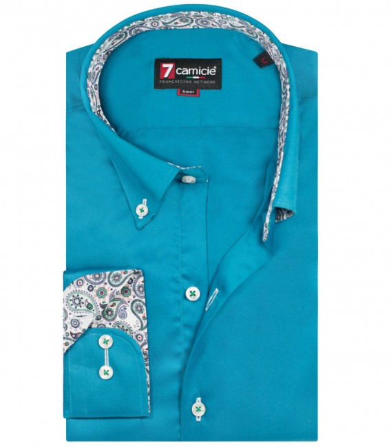 Shirt Leonardo Satin Teal Green