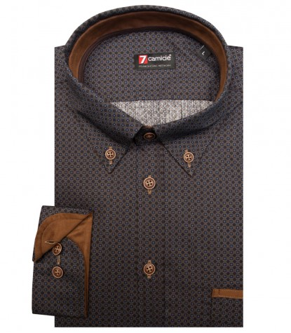 Shirt Leonardo Cotton Brown Light Blue