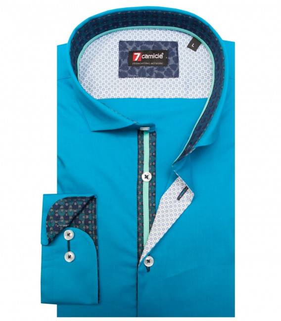 Shirt Firenze stretch poplin Turquoise