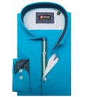 Chemises Firenze popeline extensible Turquoise