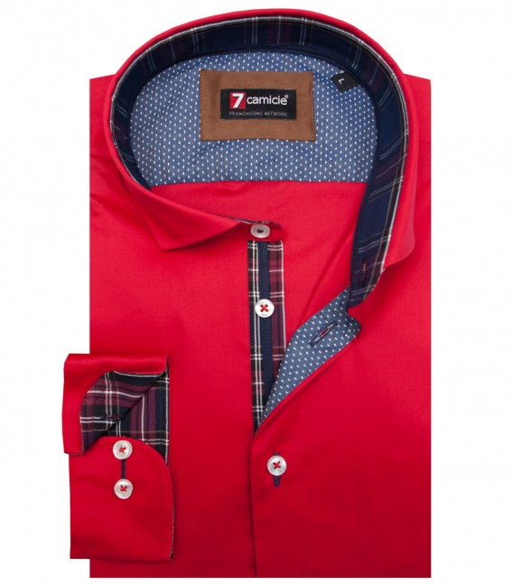 Shirt Firenze stretch poplin Red