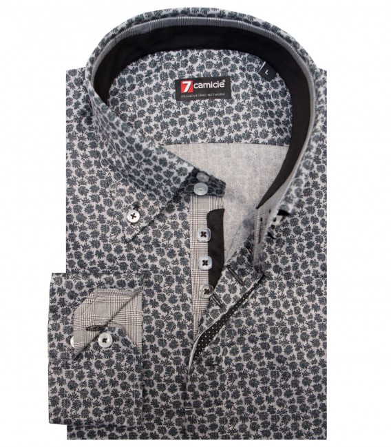 Shirt Roma Cotton BlackMiddle Shade Grey