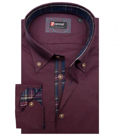 Camisas Roma Oxford Bordeaux
