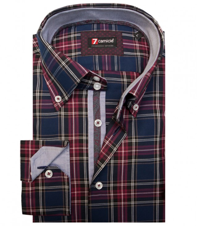 Shirt Roma Poplin BordeauxBlue