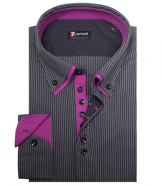 Shirt Donatello Cotton Dark GreyBlack