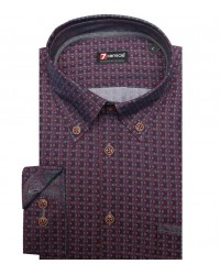 Shirt Leonardo Cotton BordeauxDark Grey