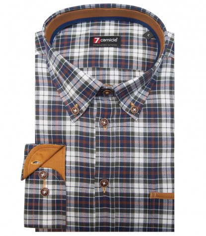 Shirt Leonardo Oxford WhiteDark Green