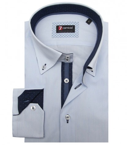 Shirt Roma Poplin WhiteLite Blue