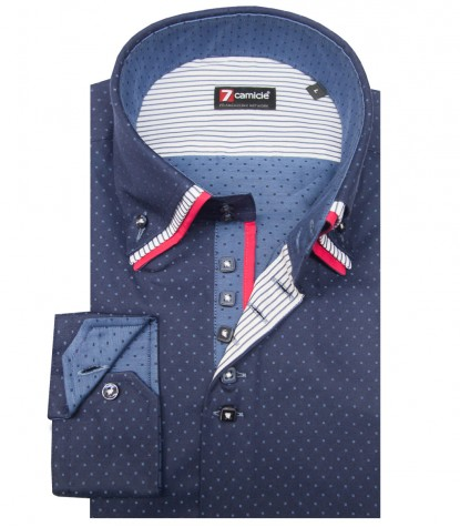 Shirt Vesuvio jacquard Blue Avion Blue