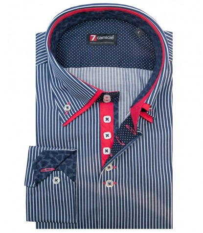 Shirt Marco Polo Satin BlueWhite