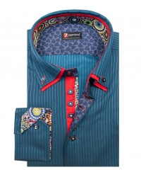 Camicia Marco Polo Satin Nero Blu Seaport