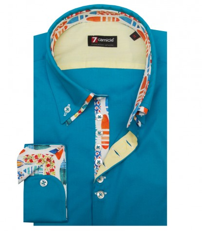 Camicia Donatello Popeline stretch Turchese