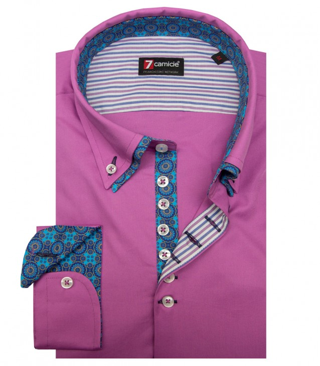 Shirt Donatello stretch poplin Orchid