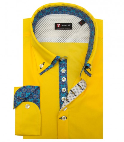 Shirt Donatello stretch poplin Yellow