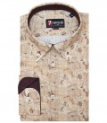 Shirt Leonardo Poplin Beige and Dove