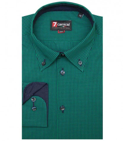 Shirt Leonardo Poplin Dark Green Blue